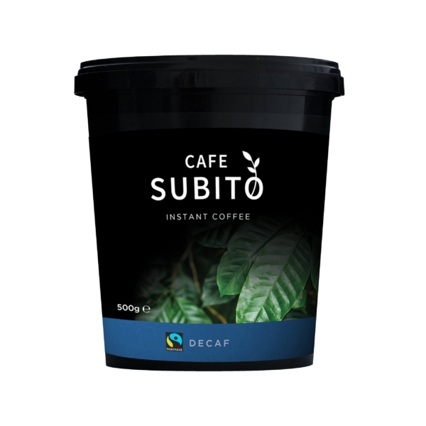 Tin of Cafe Subito Fairtrade decaf instant coffee