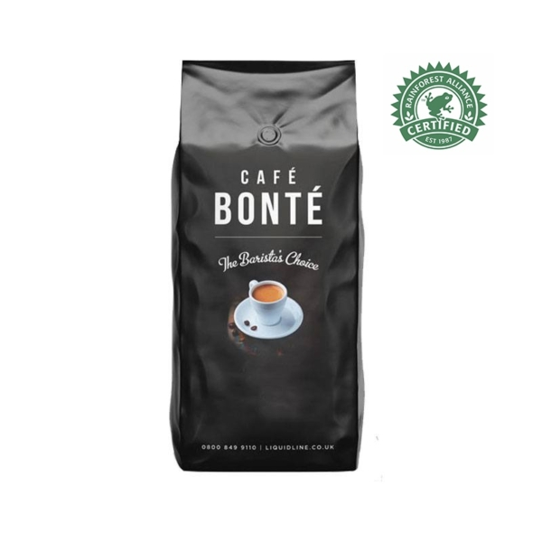 Bag of Cafe Bonte Monte Sion Rainforest Alliance coffee beans
