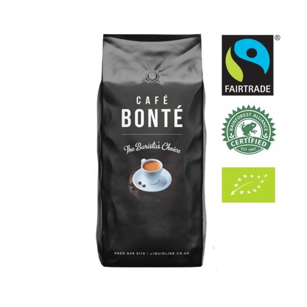 bag of Cafe Bonte Tripple Certified Fairtrade Rainforest Alliance Organic coffee beans