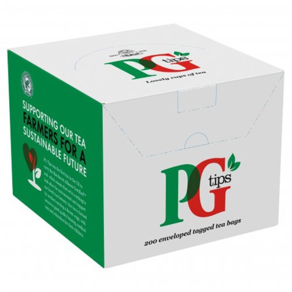 Box of PG Tips enveloped tagged tea bags
