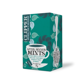 box of clipper after dinner mints teabags