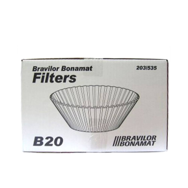 box of Bravilor bonamat conical coffee filter papers for b20