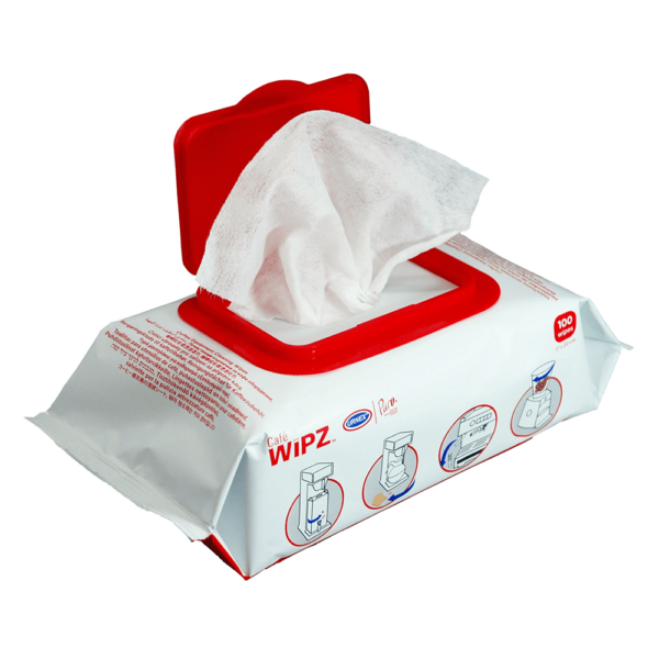 Packet of cafe wipz coffee machine cleaning wipes