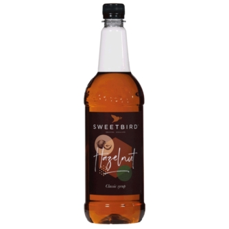 Bottle of sweet bird hazelnut syrup