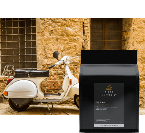 Bag of Picco Coffee Co Milano filer coffee with scooter