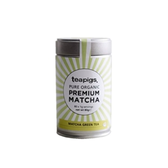 tin of teapigs pure organic premium match green tea