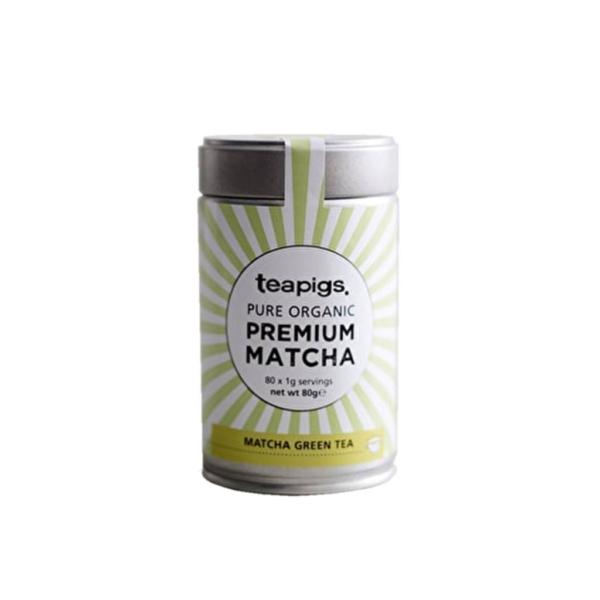 tin of teapigs pure organic premium match green tea