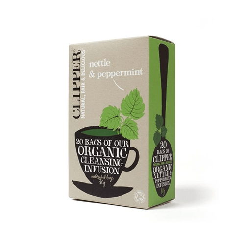 box of clipper nettle and peppermint teabags