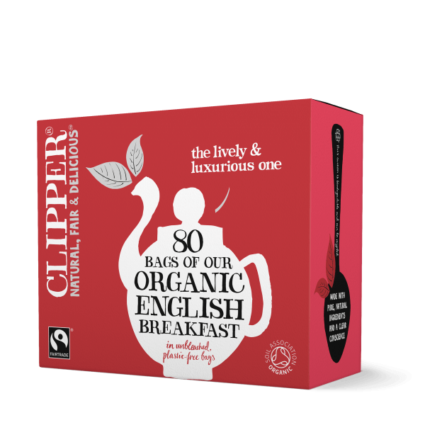 box of clipper organic English breakfast tea teabags