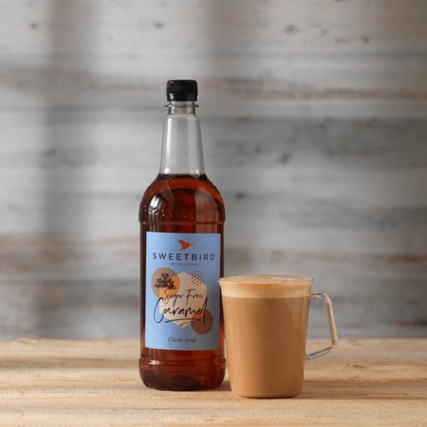 sweet bird sugar free Carmel syrup with hot beverage beside
