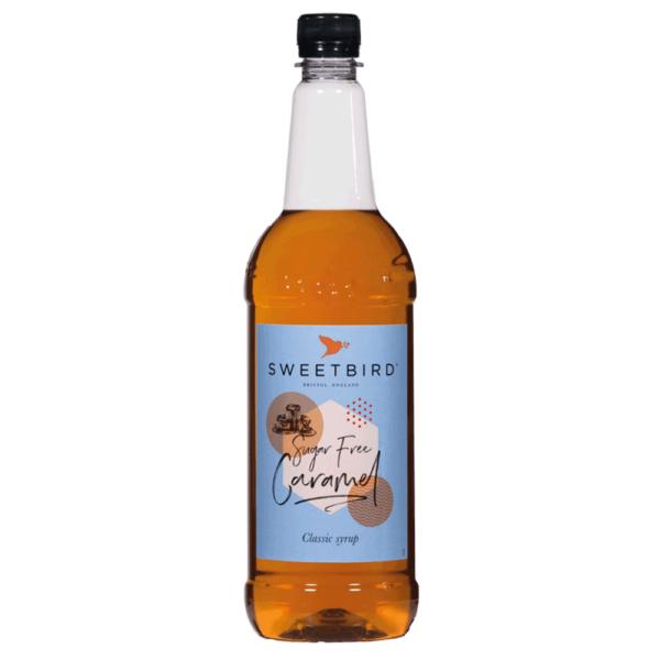bottle of sweet bird sugar free caramel syrup
