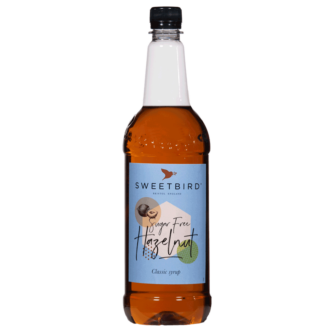bottle of sweet bird sugar free hazelnut syrup