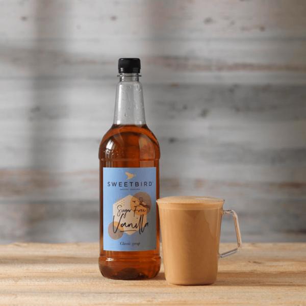 bottle of sweet bird sugar free vanilla syrup beside