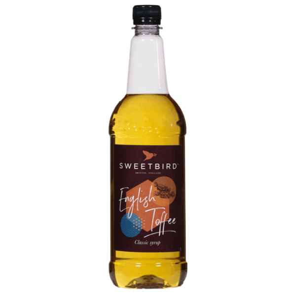 Bottle of sweet bird English toffee syrup