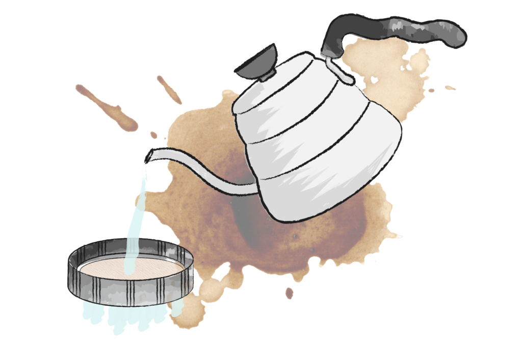 illustration of kettle pouring hot water over an areopress filter