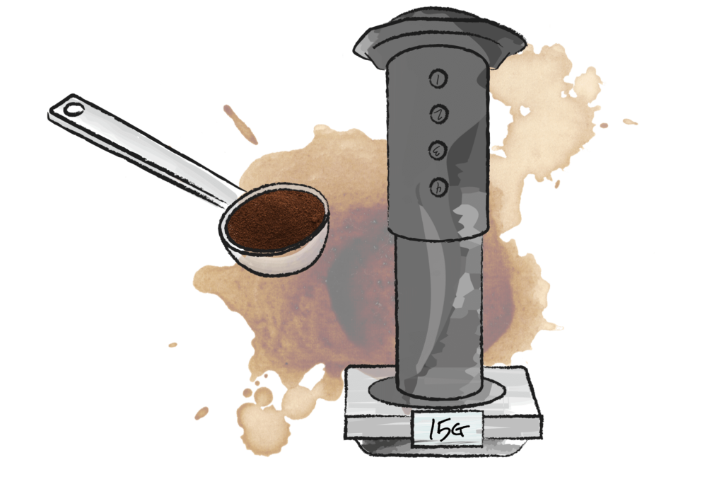 illustration of an areopress coffee maker on a set of scales with coffee being spooned in
