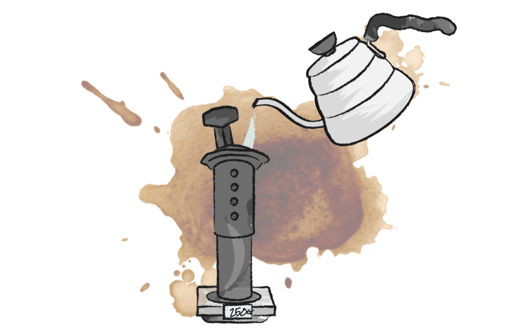 illustration of hot water being poured from kettle into an areopress coffee maker