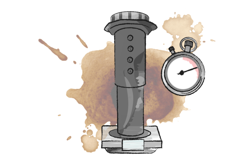 illustration of an areopress coffee maker on a set of scales with a stopwatch in the background