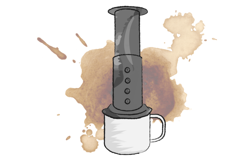 illustration of an areopress coffee maker on top of a mug
