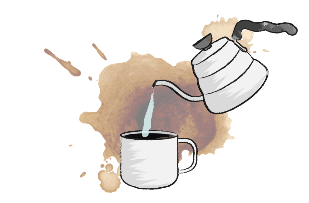 illustration of kettle pouring hot water into a mug of coffee