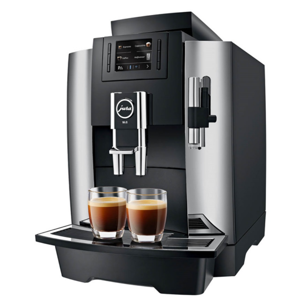 Side view of Jura WE8 bean to cup coffee machine