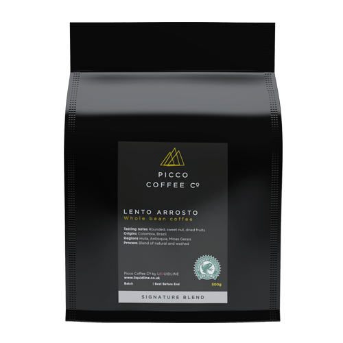 bag of picco coffee co lento arrosto whole coffee beans