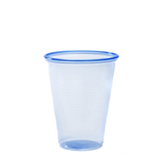 transparent blue plastic 7oz cup