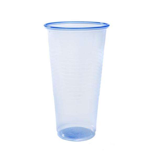 tall blue transparent plastic cup