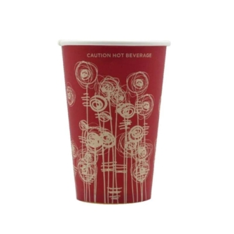 red abstract design 9oz vending paper cup