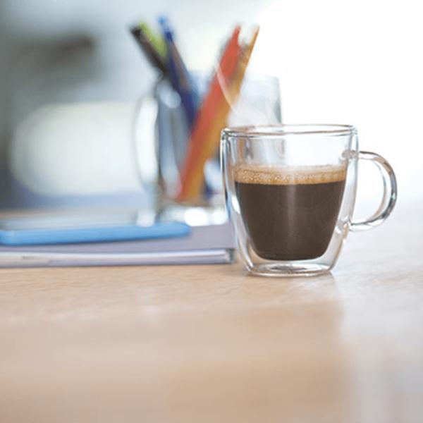 Cup of Flavia Alterra Espresso Roast instant coffee