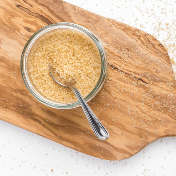Bowl of brown cane sugar