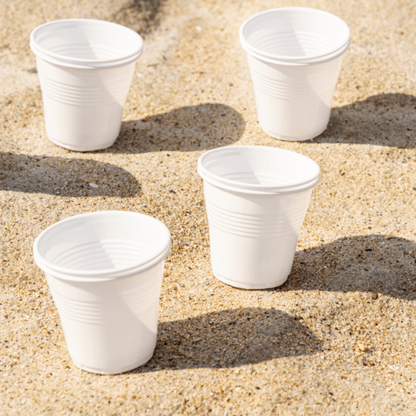 White plastic drinks cup